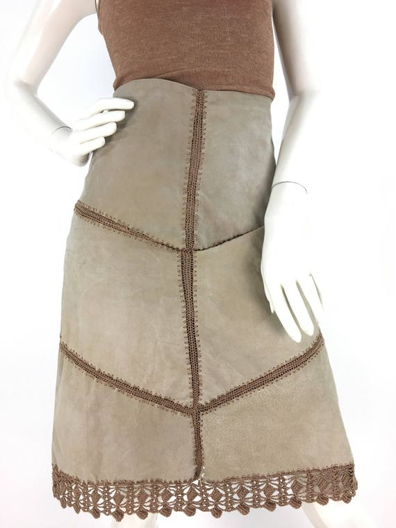 Vintage leather midi skirt/leather/suede midi skir
