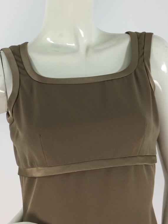 70s bronze dress/bronzed dress 1970/satin mini dre