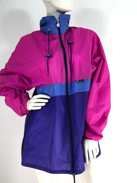 Vintage Women/'s  Grey Pink K-WAY Windbreaker Rain Pullover Jacket Size L