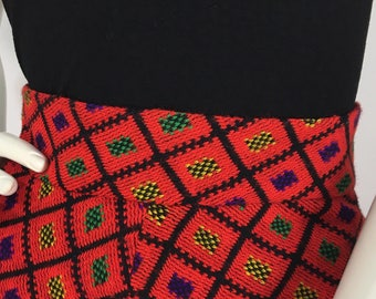 1960s Irving Nadler knit maxi, 60s vibrant colored maxi skirt