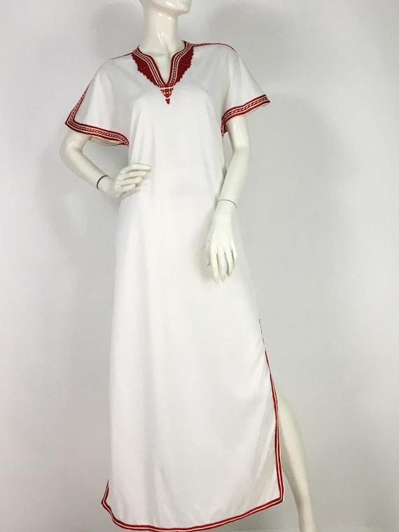 70s turkish maxi dress/70s boho maxi dress/embroid
