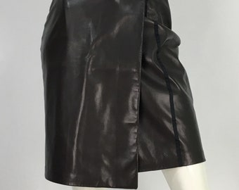 Vintage leather wrap skirt/90s leather wrap/vintage leather skirt/danier leather wrap skirt