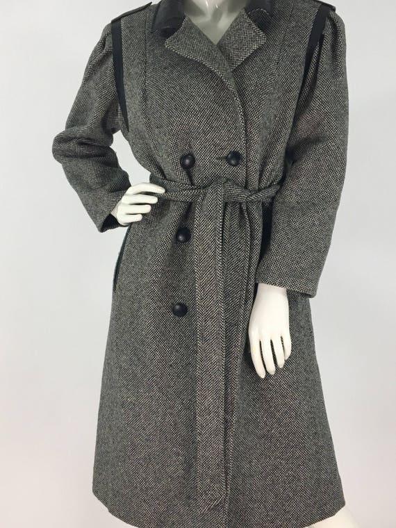 1980s salt n pepper tweed wool jacket tie waist - image 1