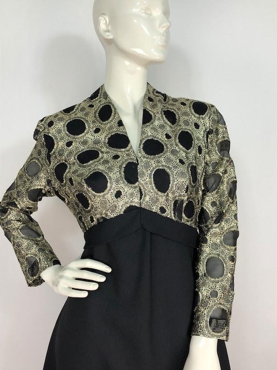 1960s evening dress/60s gold dress/1960s union lab