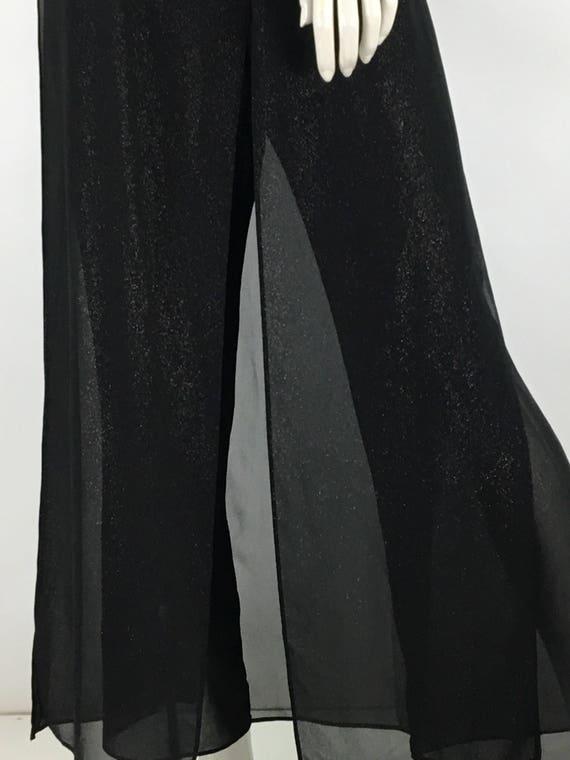 Vintage sheer palazzo pants/metallic speckled shee