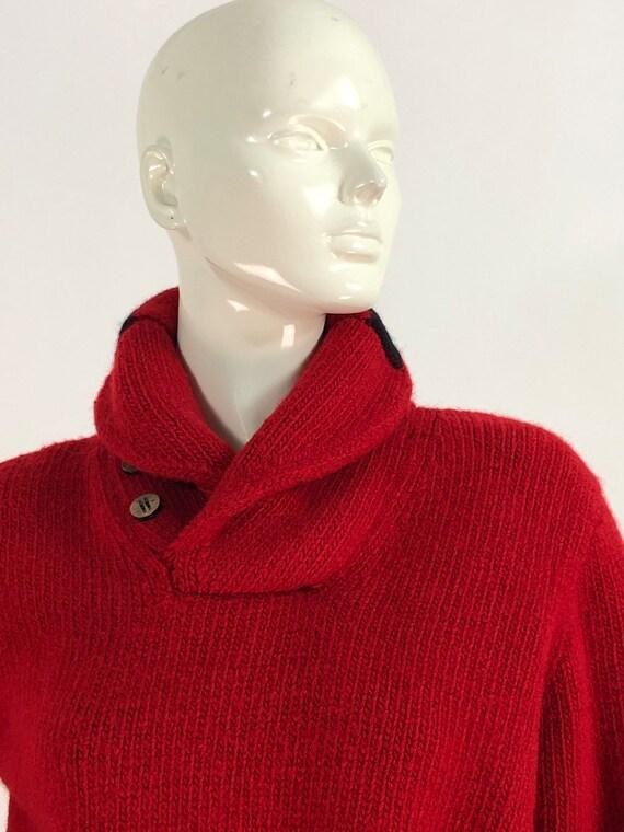 Vintage polo sweater/polo hand knit/polo 100% woo… - image 9