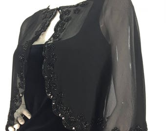 1960s black sheer shawl