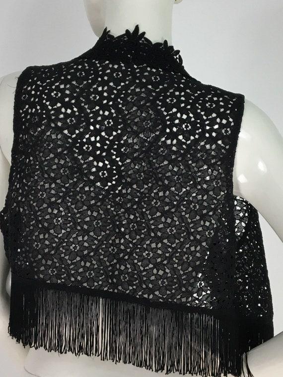 70s black lace top/black lace vest/1970s black lac