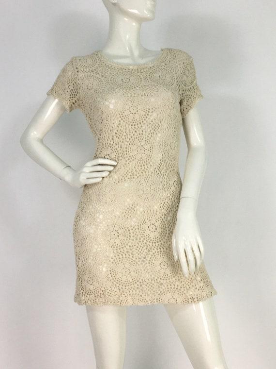 90s crochet dress/vintage crochet dress/crochet mi