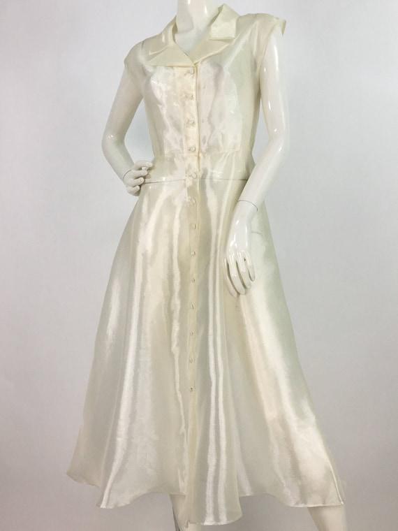 Prom dress/70s 80s cream sheer organdy maxi/off white silk