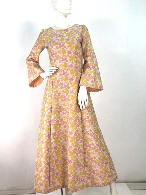 1960s bell sleeve dress/floral dress/60s maxi dres