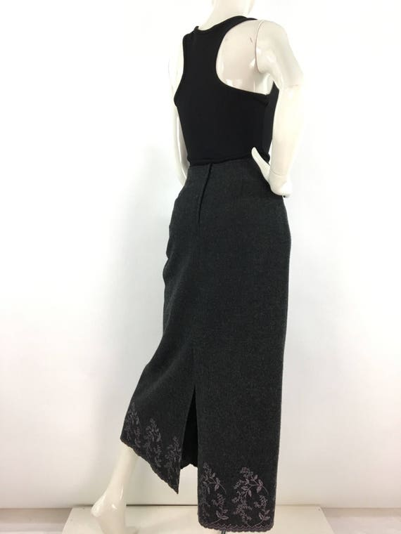 Vintage grey wool maxi, wool maxi bottom floral em