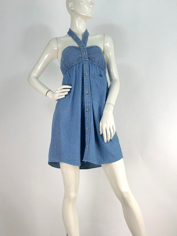 90s denim dress/vintage denim/vintage jean dress - image 3
