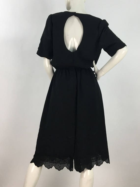 80s black midi dress/1980s midi