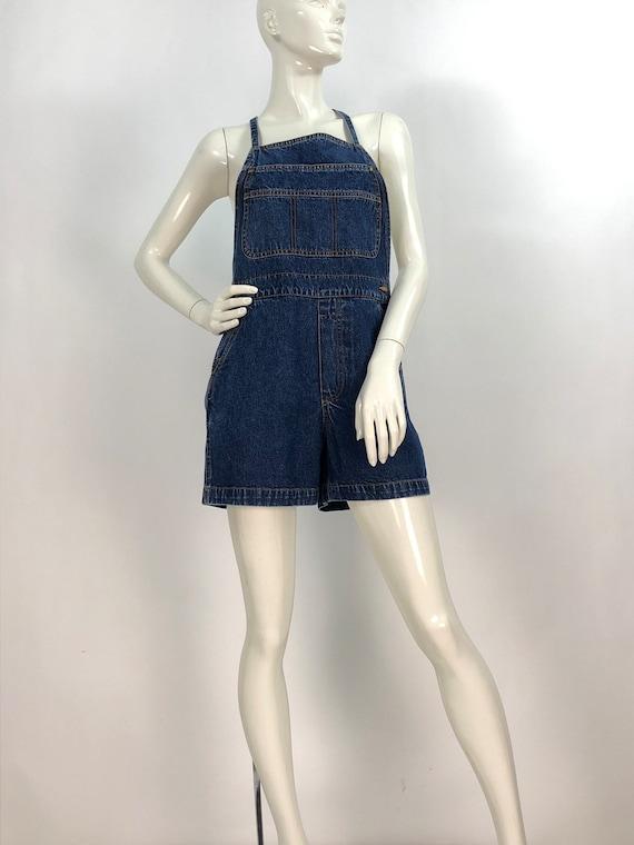 1990s denim overalls/90s jean overalls/90s short … - image 9