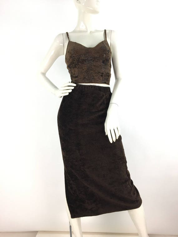 Vintage fleece midi skirt/brown midi skirt/warm v… - image 2