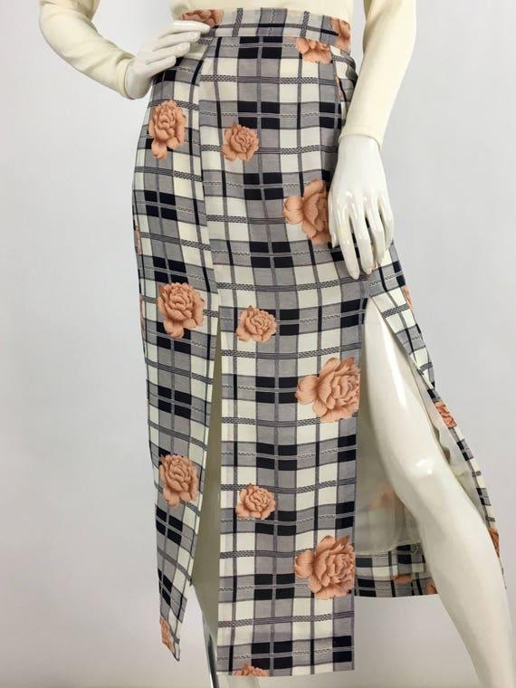 Vintage floral midi skirt/80s midi/90s midi skirt