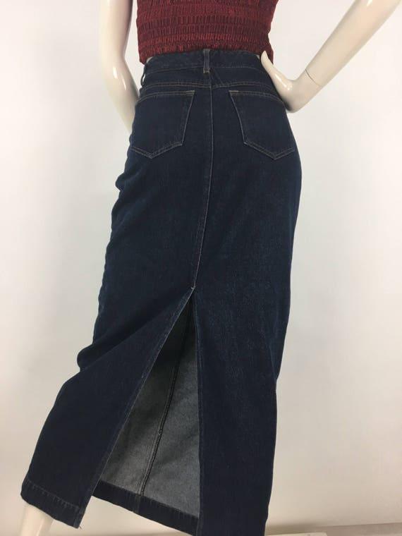 90s Jean maxi skirt, 1990s Contrast Jean maxi skir