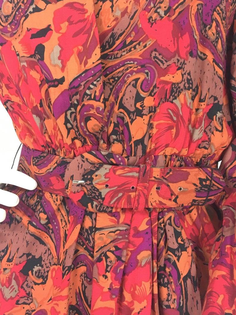 80s bright floral midi dressvintage Michael Phillips