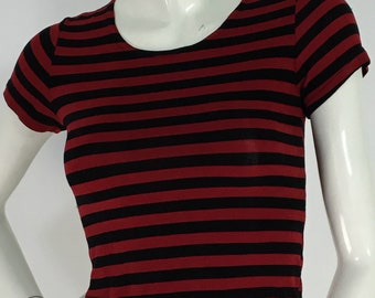 90s spandex striped top/1990s stretch top