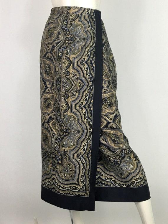 90s silk midi skirt/silk midi skirt/silk wrap