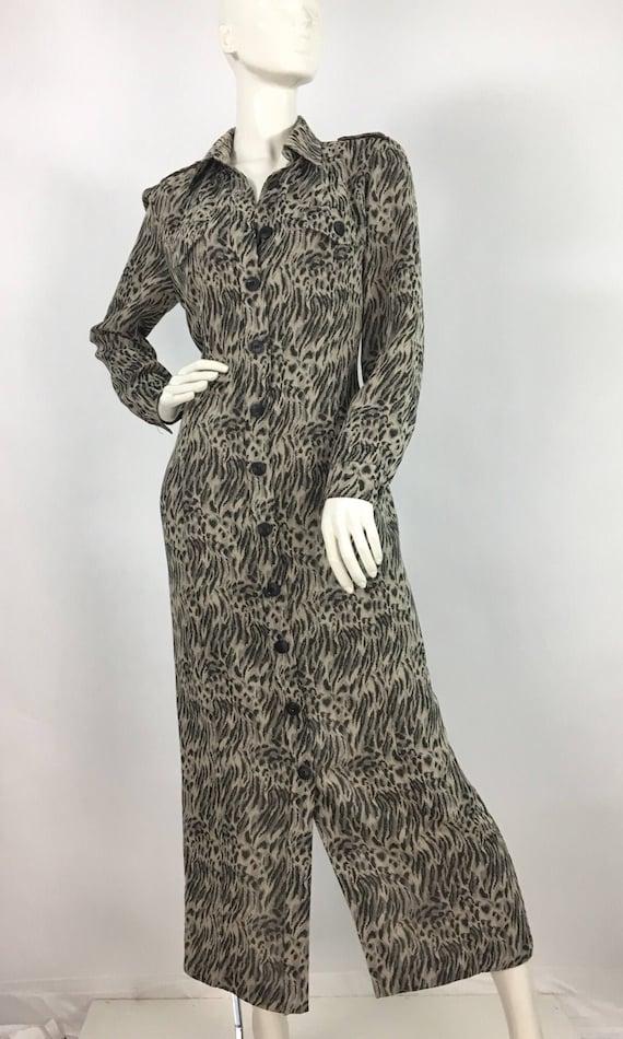 90s animal print dress/Algo midi dress