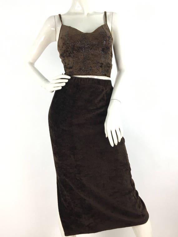 Vintage fleece midi skirt/brown midi skirt/warm v… - image 6