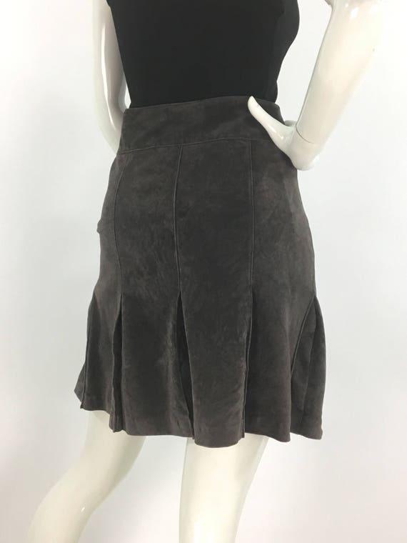 Vintage grey suede pleated skirt, pleated grey ski