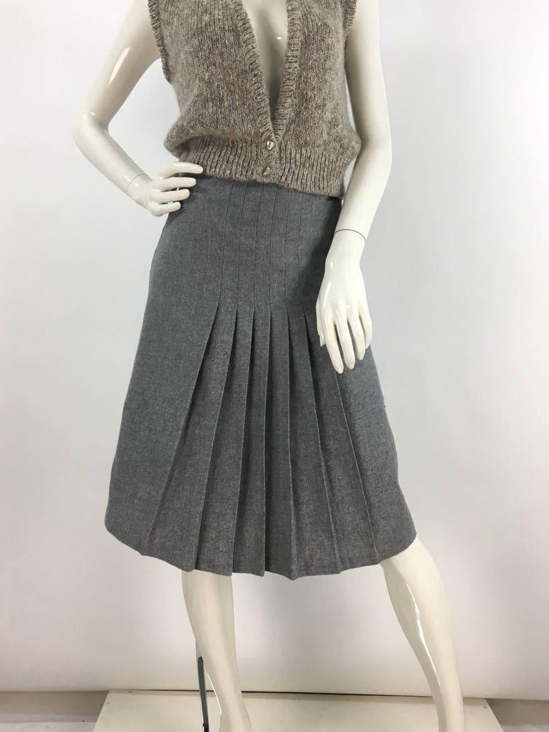 a09799303 80s grey wool blend skirt vintage wool midi 1980s wool pleated