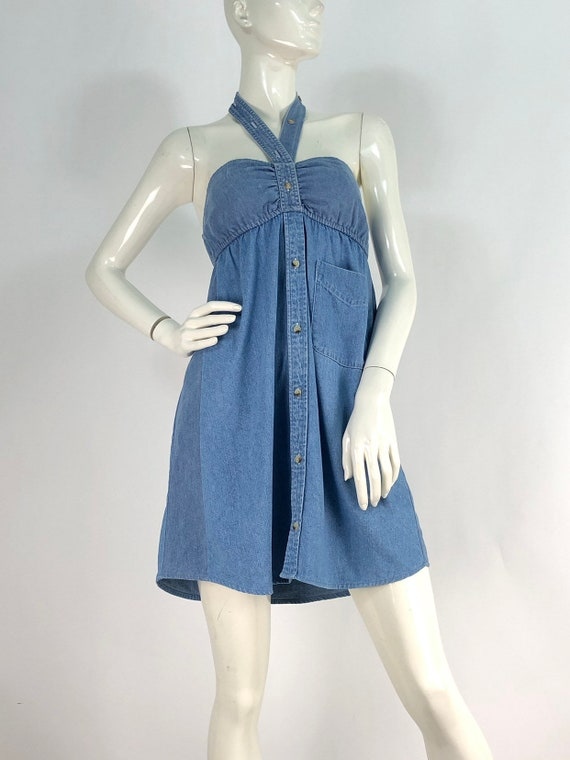 90s denim dress/vintage denim/vintage jean dress - image 5