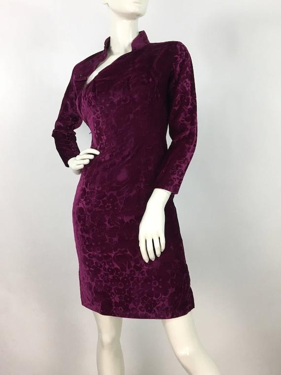 1960s cheongsam dress/vintage cheongsam/velvet che