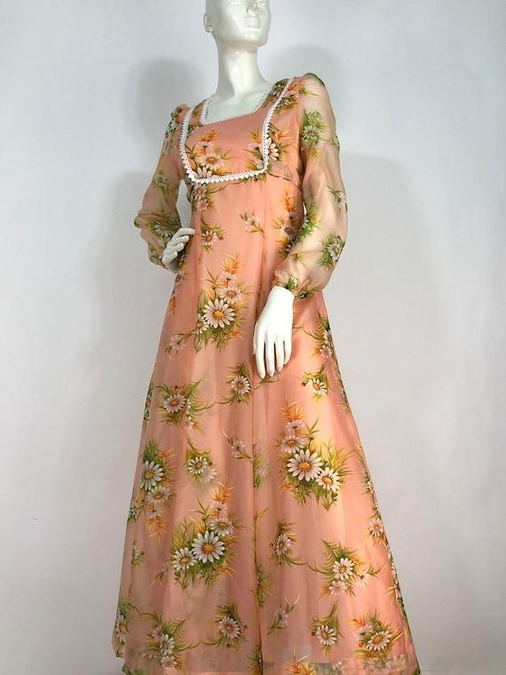 1970s Nancy G dress/70s flower child dress