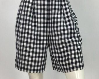 80s checkered high waist shorts /black white checkered shorts