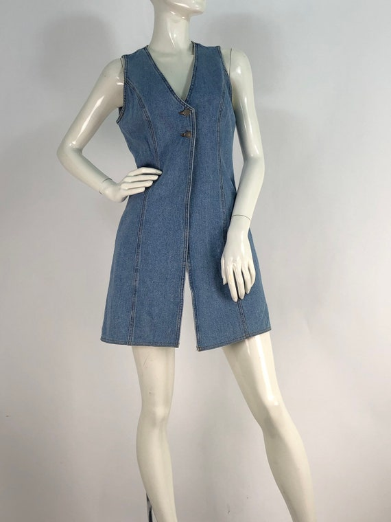 80s jean dress/90s jean dress/denim dress/vintage