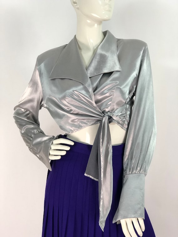 Metallic top/80s metallic top/metallic blouse/vint