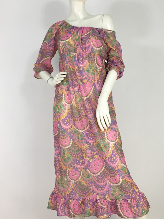 70s paisley midi dress/70s flower child/off should