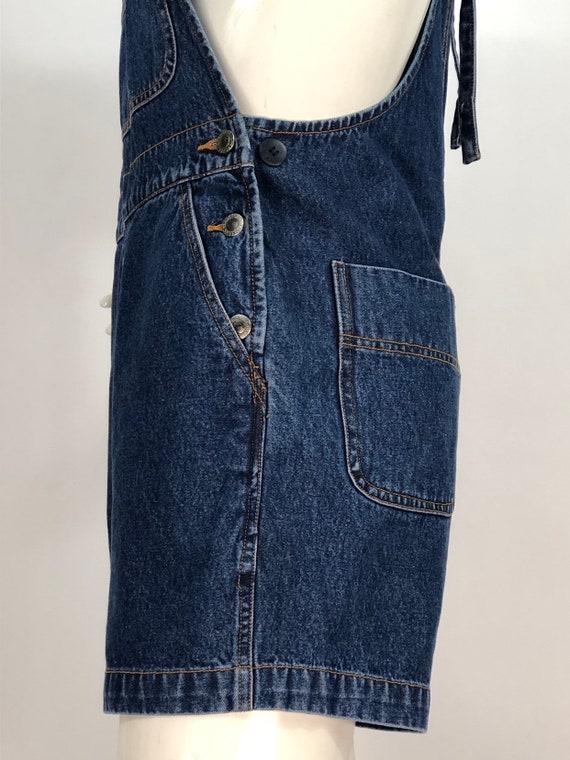 1990s denim overalls/90s jean overalls/90s short … - image 5