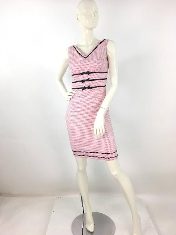 1990s bodycon/pink bodycon/polka dot dress/vintage
