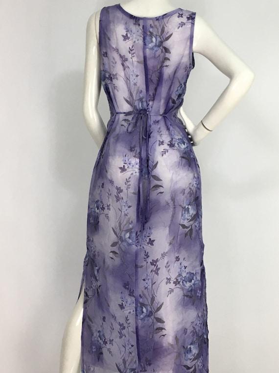 90s sheer dress/1990s sheer purple midi dress