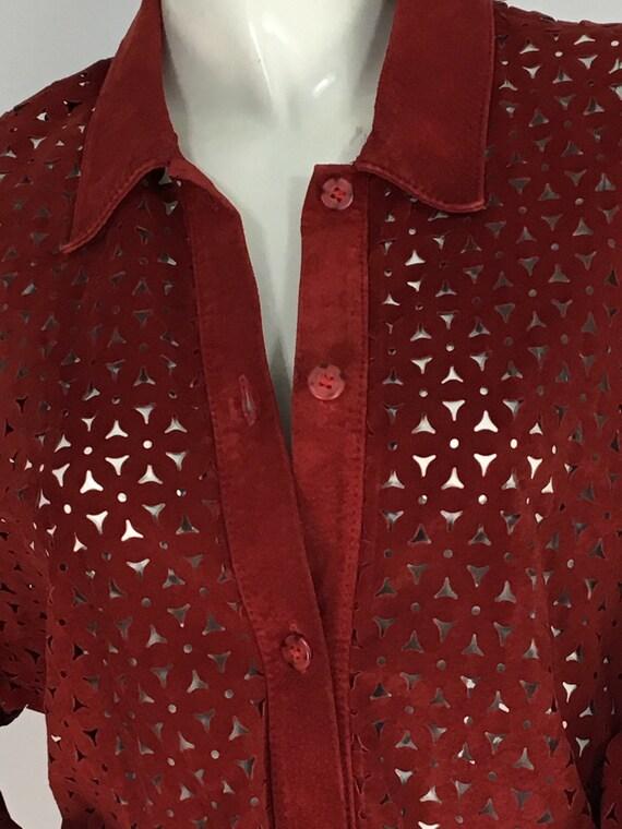 Vintage danier leather/leather cut out shirt/leat… - image 6