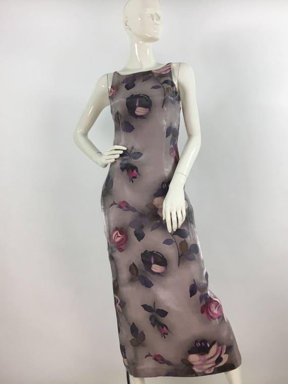 Vintage floral maxi dress/90s floral maxi/1990s Tw