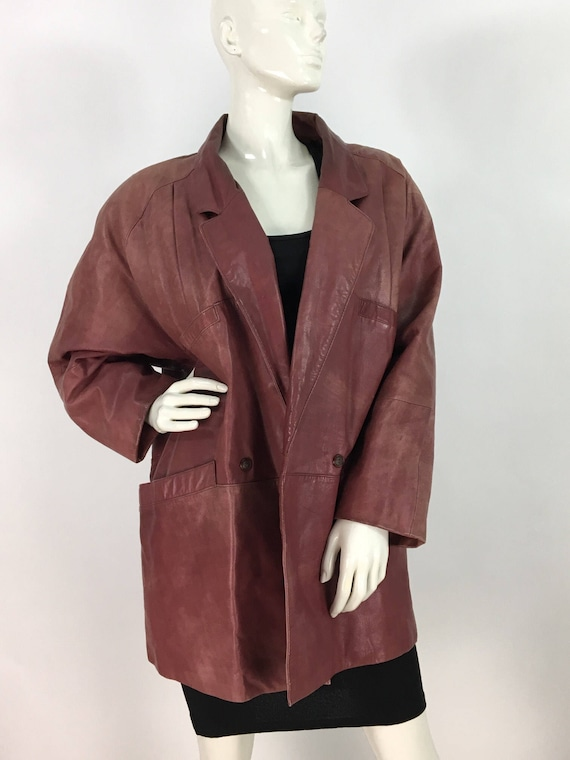 80s faded leather jacket/1980s burgundy leather ja