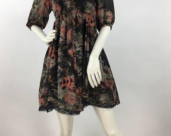 90s baby doll dress, 1990s baby doll dress lace trim
