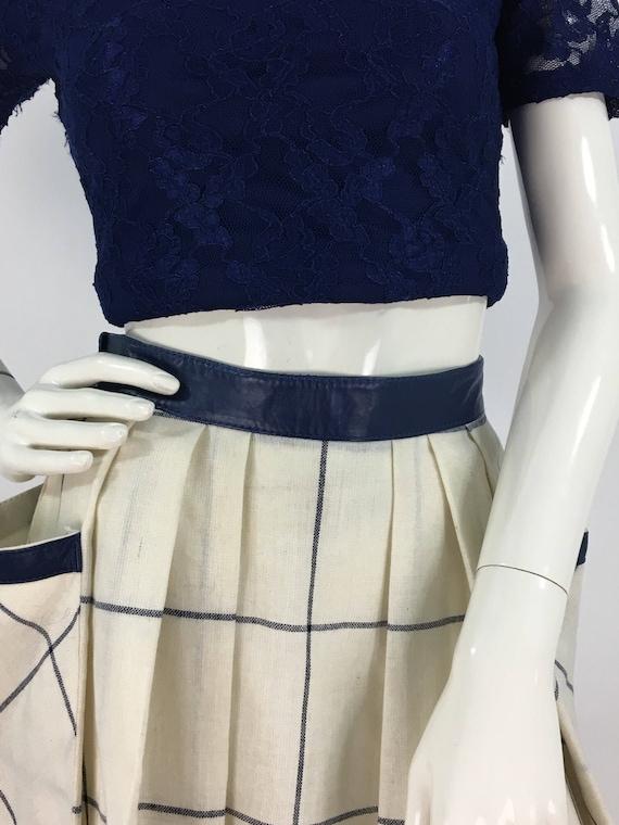 70s swing dress leather detail
