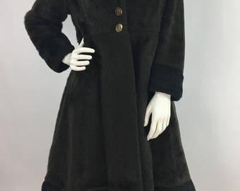 1960s faux fur coat/60s faux fur