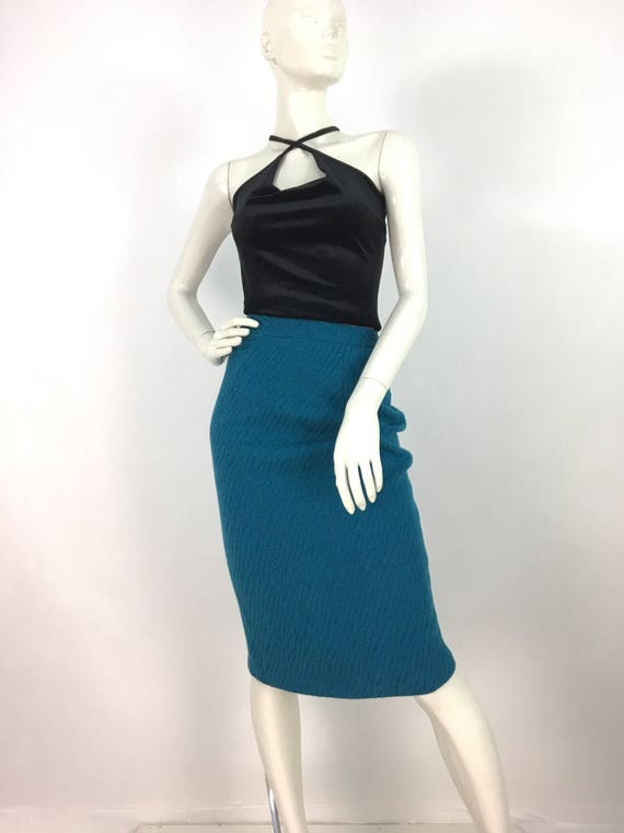 80s turquoise pencil skirt/1980s pencil skirt