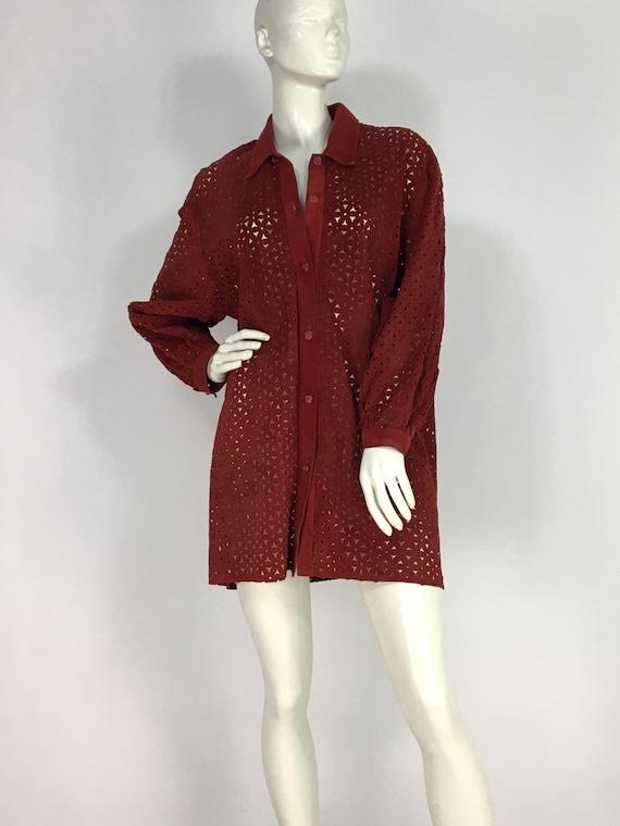 Vintage danier leather/leather cut out shirt/leat… - image 1