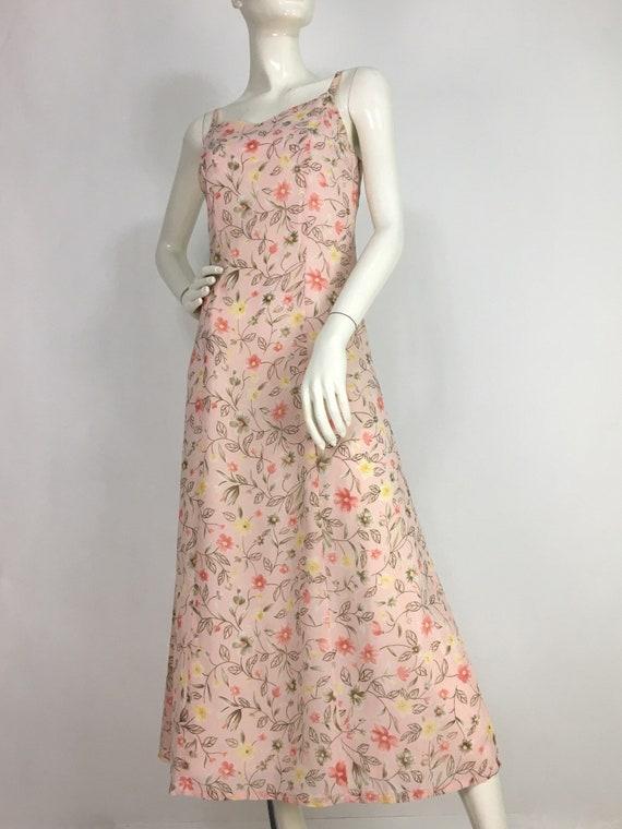 90s pink floral dress/1990s dress