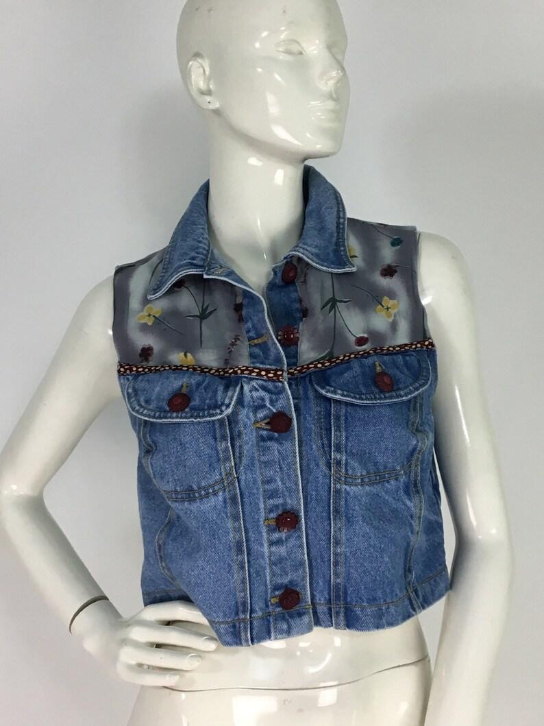 Vintage jean vest90s jean crop topromeo romeo jean top