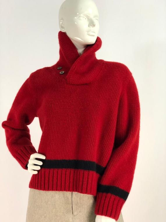 Vintage polo sweater/polo hand knit/polo 100% woo… - image 2